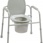 Deluxe Welded Steel Commode with Armrests